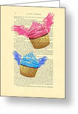 Pink And Blue Cupcakes Vintage Dictionary Art Greeting Card