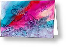 Pink And Blue Dragonflies Greeting Card