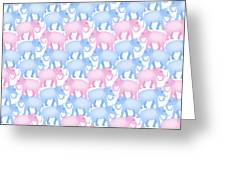 Pink And Blue Elephant Pattern Greeting Card