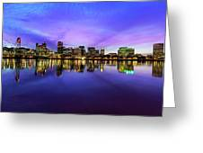 Pink And Blue Hue Evening Sky Over Portland Oregon Greeting Card
