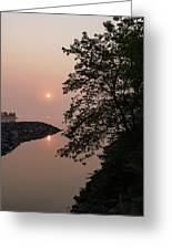 Pink And Green Summer - Soft Misty Sunrise On The Lake Greeting Card