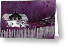 Pink And Purple Enchanted Cottage Greeting Card