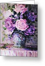 Pink And Purple Roses Greeting Card