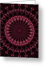 Pink And Red Glowing Mandala Greeting Card