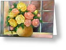 Pink And Yellow Roses Greeting Card