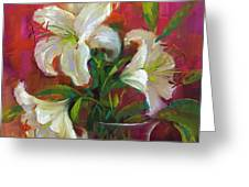 Pink Angel White Lilies Greeting Card