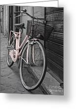 Pink Bicycle In Rome Greeting Card
