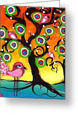 Pink Birds On A Tree Greeting Card