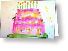 Pink Birthday Cake Greeting Card