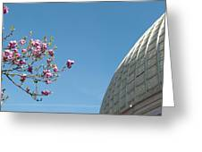 Pink Blossom And Glasshouse Greeting Card