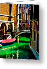 Pink Boat And Canal Greeting Card
