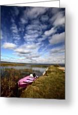 Pink Boat In Scenic Saskatchewan Greeting Card