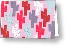 Pink Cactus Pattern Greeting Card