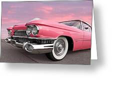Pink Cadillac Sunset Greeting Card