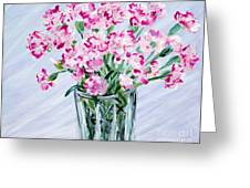 Pink Carnations In A Vase. For Sale Greeting Card