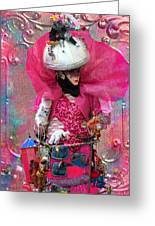 Pink Carnival Costumed Lady Greeting Card