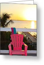 Pink Chair In The Keys Greeting Card