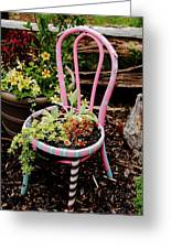 Pink Chair Planter Greeting Card