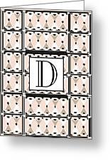 Pink Champagne Deco Monogram  D Greeting Card
