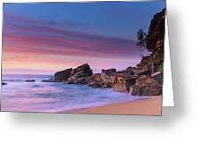 Pink Clouds And Rocky Headland Seascape Greeting Card