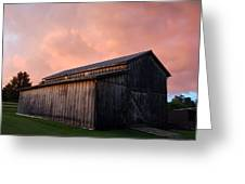 Pink Clouds Over Barn Greeting Card