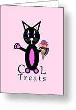 Pink Cool Treats - Cat Typography Greeting Card