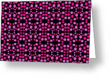 Pink Dots Pattern On Black Greeting Card