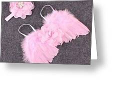 Pink Feather Baby Girl Angel Wings With Flower Lace Headband Greeting Card