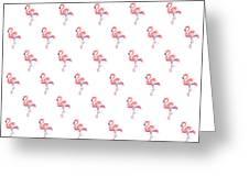 Pink Flamingo Watercolor Pattern Greeting Card