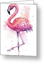 Pink Flamingo Watercolor Tropical Bird Greeting Card