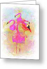 Pink Flamingos In The Park Greeting Card