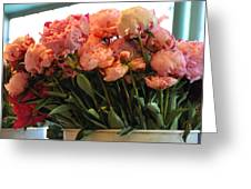Pink Flowers At The Market Greeting Card