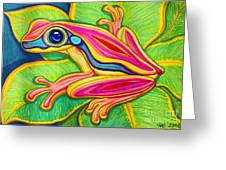Pink Frog On Leafs Greeting Card
