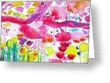 Pink Garden Tree Greeting Card