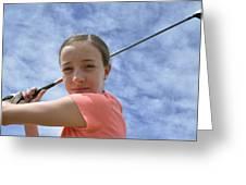 Pink Girl Pre Swing 02 Greeting Card