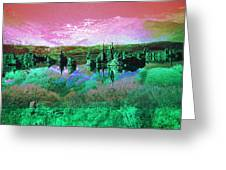 Pink Green Waterscape - Fantasy Artwork Greeting Card