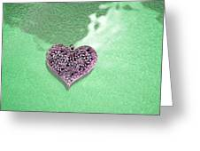 Pink Heart On Frosted Glass Greeting Card