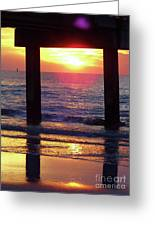Pink Heart Sun Flare Clearwater Sunset Greeting Card