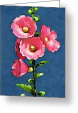 Pink Hollyhocks Greeting Card