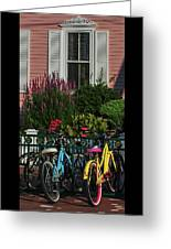Pink House Bikes Cape May Nj Greeting Card