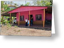 Pink House In Costa Rica Greeting Card