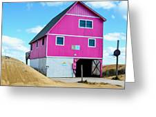 Pink House On The Beach 1 Greeting Card