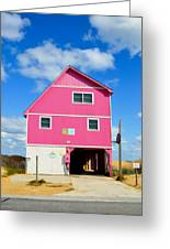 Pink House On The Beach 3 Greeting Card