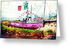 Pink Irish Boat Greeting Card