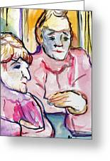 Pink Ladies Greeting Card by Mindy Newman