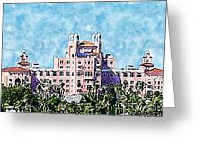 Pink Lady Don Cesar Watercolor Greeting Card