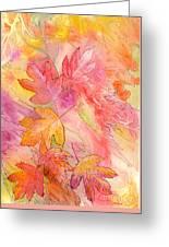 Pink Leaves Greeting Card