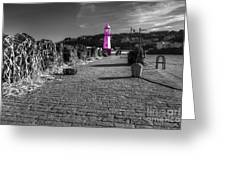 Pink Lighthouse Of St Ives Greeting Card