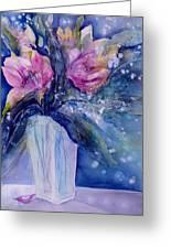 Pink Lilies In Vase Greeting Card