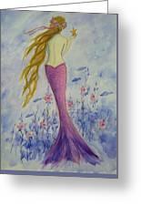 Pink Mermaid In Her Garden Greeting Card